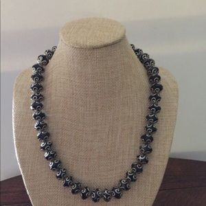 Designer black beaded Sterling silver necklace